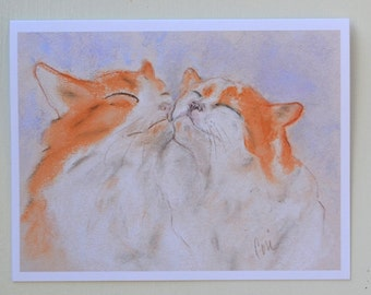 Orange and White Cats Two Cats Cat Art Note Cards By Cori Solomon