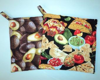 Mexican Food Avocados Potholders Hot Pads