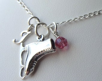 Sterling Silver Ice Skate Necklace, Skater Necklace, Personalized Necklace, Birthstone Necklace, Sports Jewelry, Initial Necklace