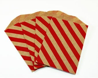 20 Red Diagonal Stripes Kraft Paper Bags - Pack of 20 Little Bitty bags Valentine's Day