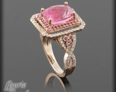 Rose Gold Rubellite Tourmaline, Pink and White Sapphire Twist Shank Engagement Ring - Custom Order Link - Lizzy416 - 22nd payment