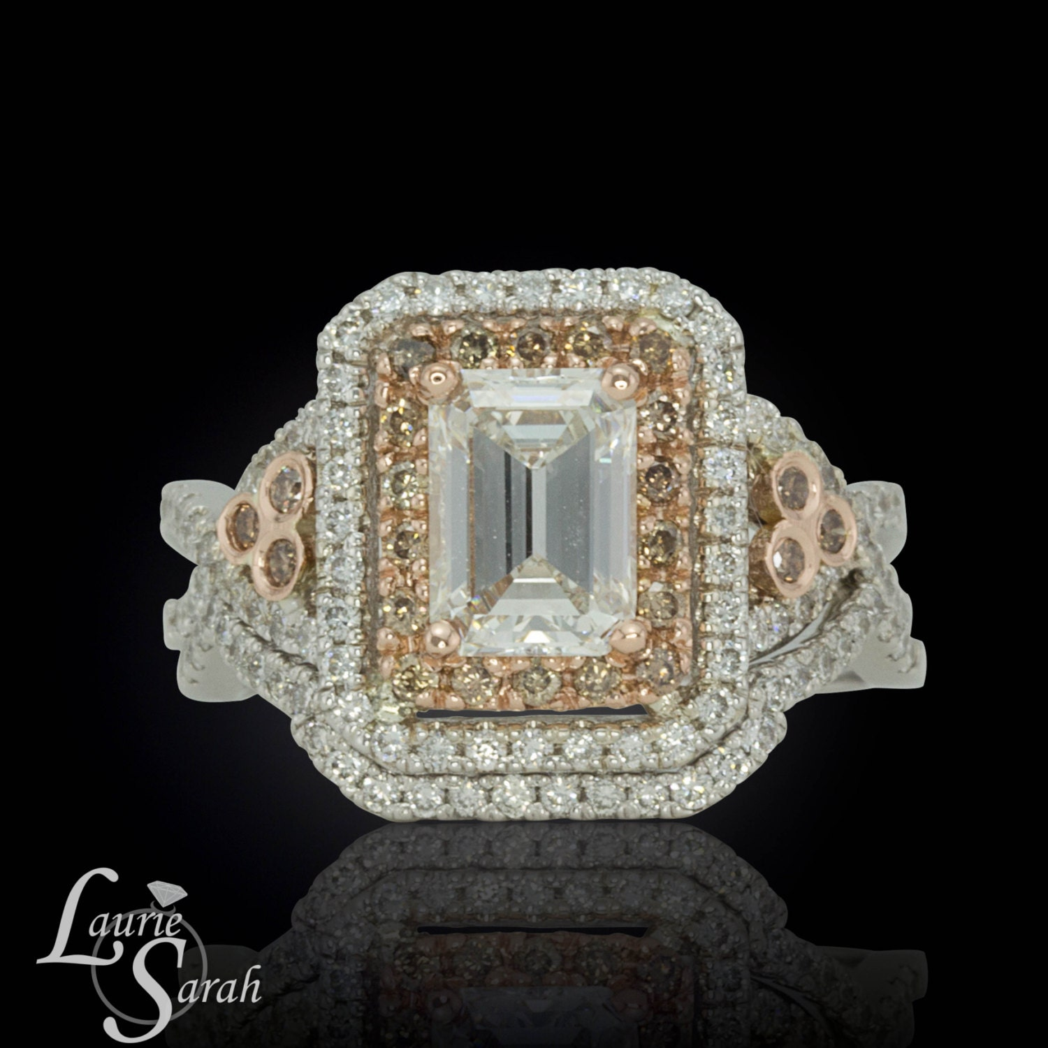 Emerald Cut Diamond Wedding Set with Brown Diamond Halo and