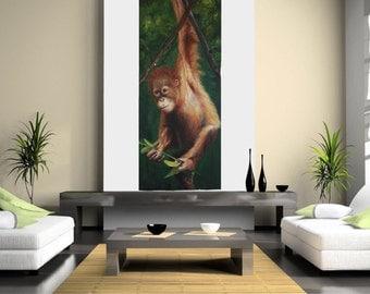 Orangutan art painting, limited edition print on canvas