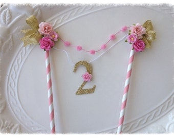 Pink and Gold Cake Bunting for Birthday Party With number Birthday Decoration