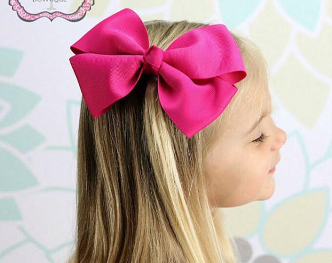6 in. Shocking Pink Hair Bow - XL Hair Bow - Big Hair Bows - Girl Hair Bows