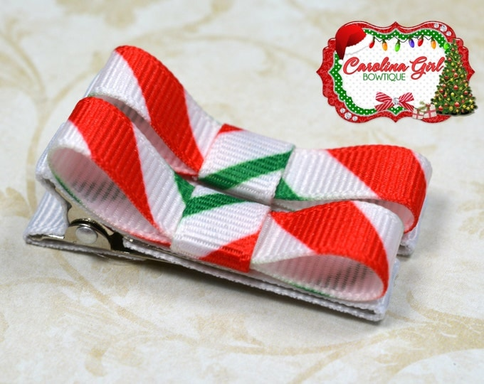 Candy Cane Striped Hair Clips Basic Tuxedo Clips Alligator Non Slip Barrettes for Babies Toddler Girl Set of 2