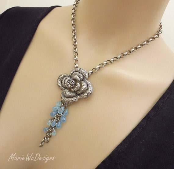 Santa Maria Aquamarine-Marcasite Rose Pendant-Oxidized Sterling Silver March Birthstone Necklace