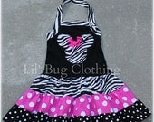 Animal Kingdom Minnie Mouse Dress, Zebra Hot PInk Minnie Dress, Minnie Mouse Birthday Girl Dress, Minnie Mouse Girl Clothes
