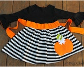 Custom Boutique Clothing Halloween Pumpkin Black White Stripe Comfy Knit Dress