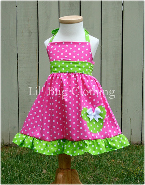 Custom Boutique Clothing Lime and Pink Dot  Minnie Mouse Halter Dress Disney Pink