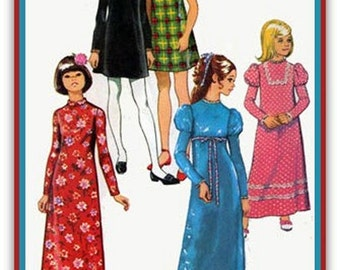 1970s Girls Mini or Maxi Dress w/ leg of mutton Sleeves Simplicity 5337 Vintage 70s Sewing Pattern Size 7