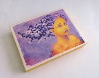 Mini Print Pixel Erin on Wood by Irma Galindo