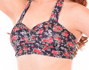 Rosemary Floral Retro Bikini Top Sizes S, M, L, XL
