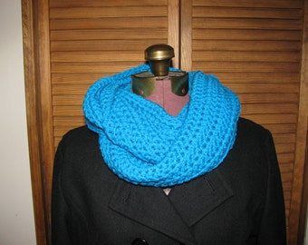 Aqua blue crochet infinity scarf, warm winter scarf