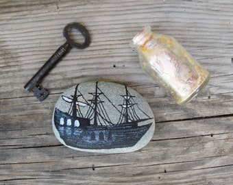 Treasure Hunt Beach Pebble Art Hand painted Ship, Skeleton key, Bottle with Pirate Treasure map