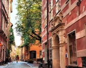 Sweden Photography Old Town Stockholm photo Cobblestone Street photo Orange Brick Green Decor Travel photography 5x7, 8x10, matted In Stock