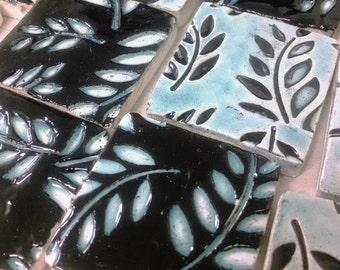 MOSAIC TILES- 64 handmade, handglazed clay tiles,Leaves, Leaf, Black and Aqua Crackle Glaze