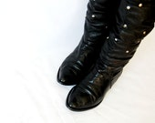 vintage STUDDED OTK black leather boot /  1980s  buckle thigh high leather boots