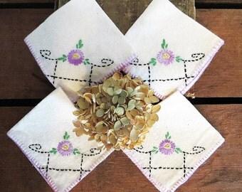 Linen Napkin Set Lavender Flowers Hand Embroidery Vintage
