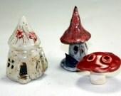 Pottery Miniature Garden Accessory Kit : Fairy House, Mushroom , Birdhouse