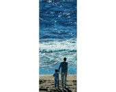 Together, An Original Painting Of A Man and His Son On A Beach (30 by 10 inches)
