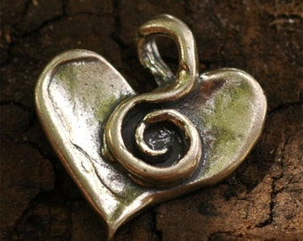 Sterling Silver Spiral Heart Charm