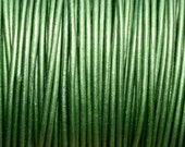 1mm Round Metallic Leather Cord - LAWN - 2 yards Leather Cording