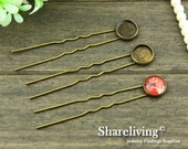 10pcs Antique Bronze Hairpin With 12mm Cameo Base Setting / Tray  HA199A