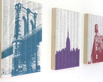 Large New York City Mounted Prints / New York City Skyline Art / Brooklyn Bridge Print / NYC Artwork / Set of 3
