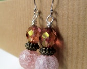 Pink Crackled Glass and Victorian Look Two Tone Beaded Sterling Silver Earrings