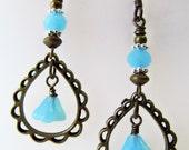 Turquoise Blue Czech Glass Flowers Chandelier Niobium Earrings