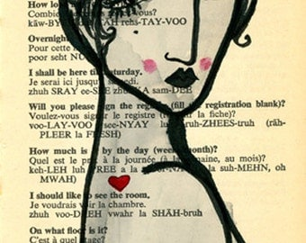 Valentine-Archival Art Print from French Lessons Series. French Art, Francophile