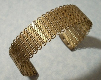 Mesh Cuff Bracelet 3/4 inch Wide Brass Mesh Woven Cuff Adjustable