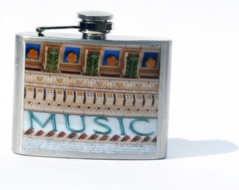 HIP FLASK - Music Flask -  Brooklyn Academy of Music Flask - 4 oz Flask