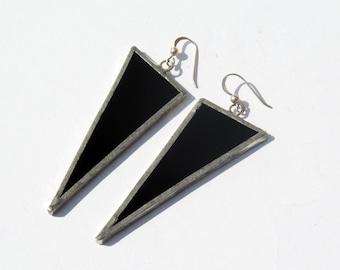 EARRINGS -  Black Triangle Earrings - Stained Glass Earrings - Statement Earrings - Minimalist Earrings