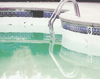 Swimming Pool Photography Mid Century Modern Art Aqua Teal Blue Wall Art Landscape  5x5 Inch Fine Art Photography print - At Summer's End