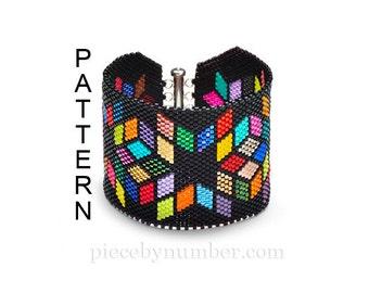 Delica Diamonds peyote bracelet pattern, beadwork bracelet, instant download PDF pattern, brick stitch, beadweaving pattern, beadwork chart