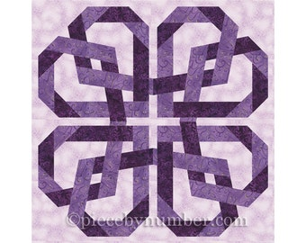 Pretzel Heart quilt pattern, paper pieced quilt patterns, instant download PDF pattern, celtic love knot, celtic knot designs