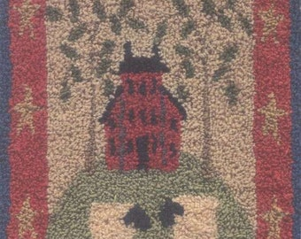 Primitive Folk Art Punchneedle Embroidery Pattern:Woolen Mill-Weavers Cloth with Preprinted Design Included