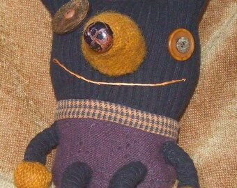 Teddy Bear Purple and Gold - Folk Art Doll