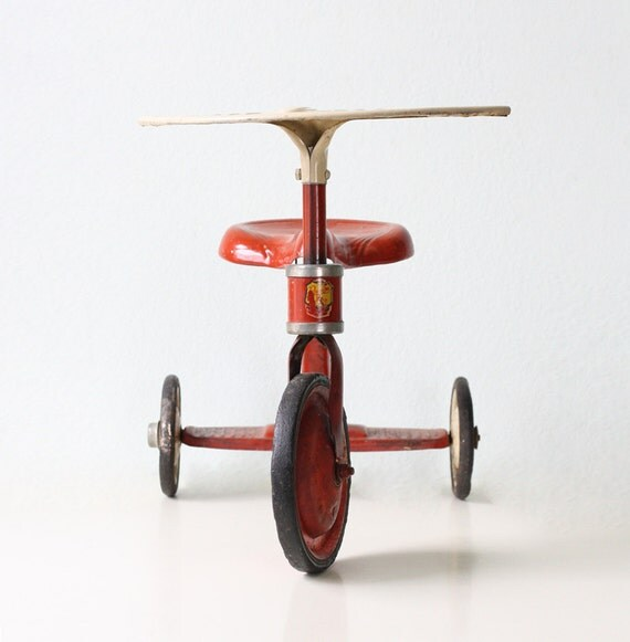 Antique Airplane Tricycle : Vintage red tricycle junior toy corp