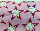 Fabric Baseball All Stars on Pink  by the Half Yard