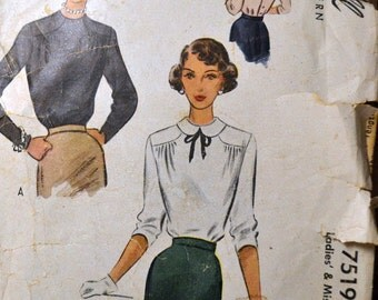 Vintage 1940s Sewing Pattern McCall 7519 Misses'  Blouses  Bust 32 Inches Complete