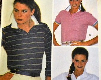 Vintage 1980's Sewing Pattern McCall's 7430 Misses' Top Stretch Knits Bust 32 Inches Complete