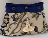 Floral Print Clutch Bag , Women's Handbag , Floral Purse , Fabric Handbag , Peacock Blue Green and Beige , Evening Bag , Floral Clutch