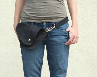 Black and Silver Sparkle Belt Bag : Fanny Pack, Festival Bag, Hip Bag, Travel Bag, Metallic Denim, Cotton Denim Bag, What She Wants