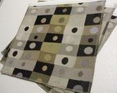 Destash fabric upholstery samples - black tan grey circle rectangles