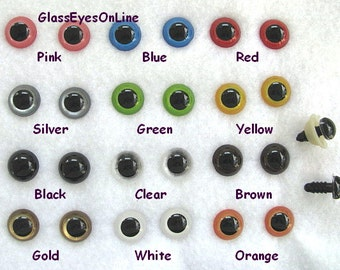 22 PAIR 12mm or 14mm or 15mm Safety Eyes Mix Colors With Washers for teddy bears, dolls, puppets, monsters, sew, crochet, amigurumi  PE-1