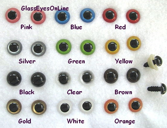 Amigurumi Eyes Australia : 22 PAIR 12mm or 14mm or 15mm Safety Eyes Mix Colors With