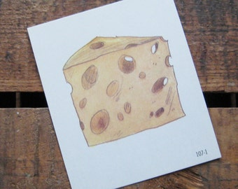 Vintage Square Flash Card - Cheese / Chalk / Letter C - Great Illustration - 70s